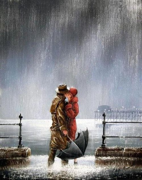 a kiss in the rain; umbrella NOT being used :-) Jeff Rowland