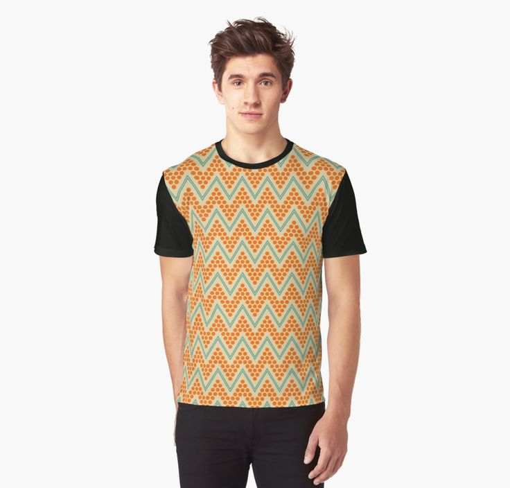 Geometric chevron pattern by LunaPrincino #lunaprincino #redbubble #print #prints #art #design #designer #graphic #clothes #for #men #apparel #shopping #tshirt #tees #top #fashion #style #pattern #chevron #zigzag #geometric #geometry #ornament #lines #dots #trendy #beige #orange #teal #turquoise