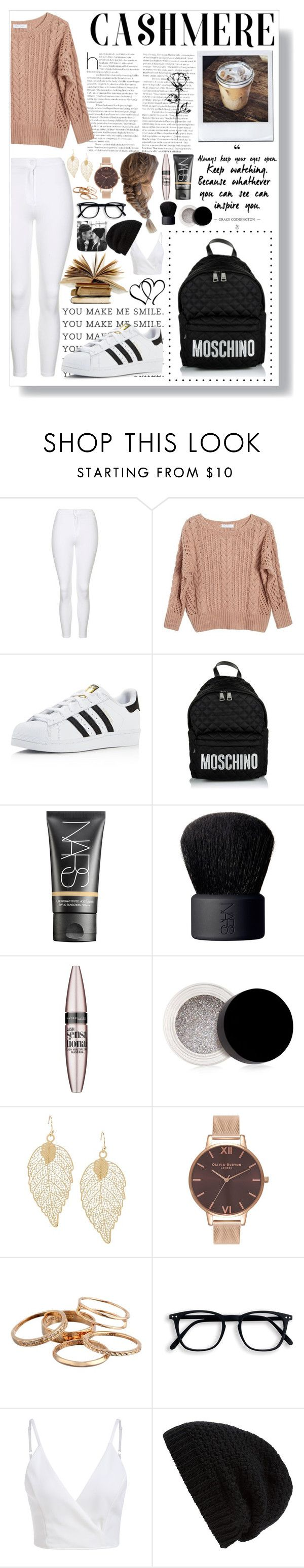 """Reading, boyfriends and lattes..."" by rhiannonpsayer on Polyvore featuring Topshop, Ryan Roche, adidas, Moschino, NARS Cosmetics, Maybelline, Inglot, Olivia Burton, Kendra Scott and Rick Owens"