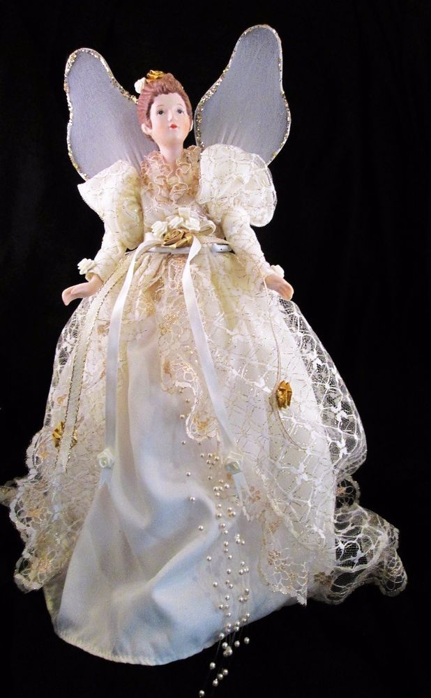 Christmas Tree Topper Angel Porcelain Head Arms Doll Stand ...