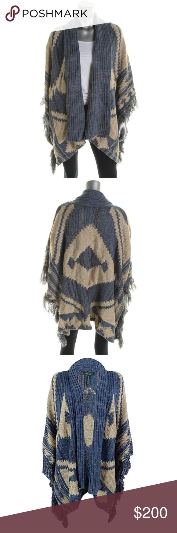 "Lauren Ralph Lauren Indigo Knit Open-Front Sweater NWT Lauren by Ralph Lauren wool blend open front poncho style cardigan sweater. Fringe trim. size Large. Color is Indigo Multi Retail: $325.00 Bust: 40 Inches  Details A bold Southwestern-inspired pattern and fringed trim create an eclectic style you'll love when the temperature dips. Pair it with a skinny pant for a look that's stylish and casual. Open front Ribbed trim Three-quarter kimono sleeves Fringed trim About 26"" from shoulder to…"