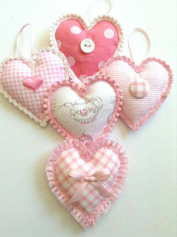 Hearts Ornaments Pink Fabric Hearts Hanging Hearts Fabric Hearts Valentine Decorations Heart Ornament