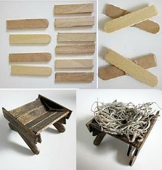 Pesebre de Belen o Natividad / Manger from recycled craft sticks/  (in Spanish -- lots of photos)