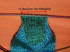Käppchenferse stricken (Anleitung für Socken mit 60 Maschen)