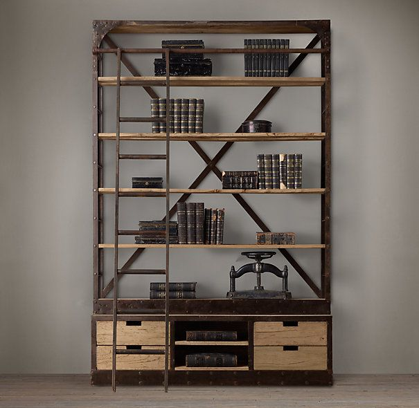 Oxidized metal open shelving 2015 home decor trend