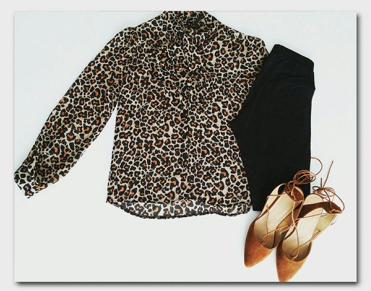 Leopard print shirt, animal print shirt, leggings, tan ghillies, ghillie heels #ootd #fashion #whatiwore #mystyle #mylook #mylookbook #outfitinspiration #fashionflatlay