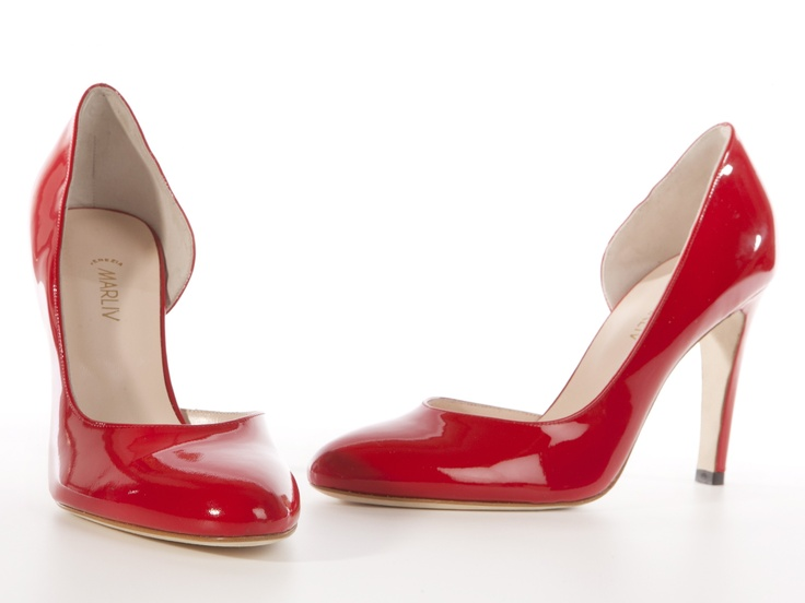 Fluo red patent high heels