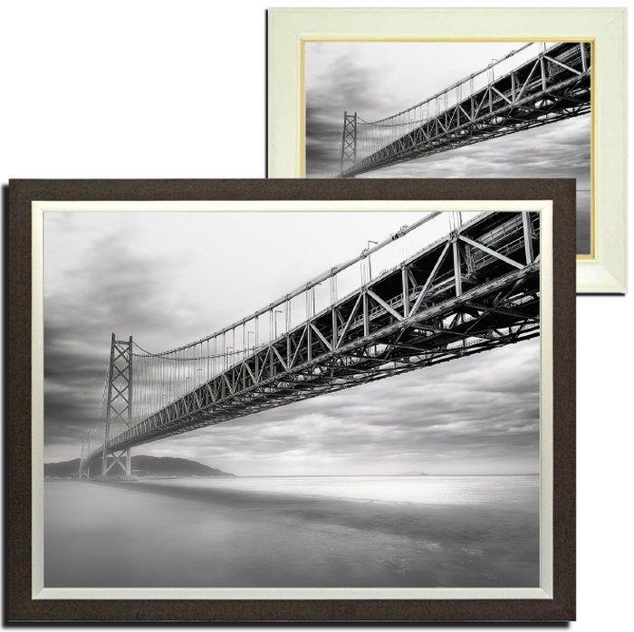壁掛けアートアートパネル風景画フォトグラファーy2-hiro写真額縁付き橋モノクロ白黒建物海母の日父の日ギフトインテリア雑貨キャンバスジグレー版画