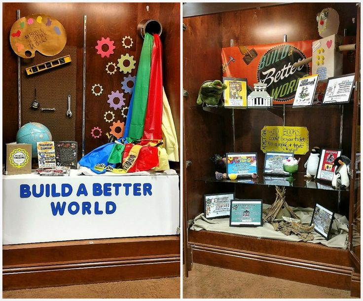 The display for Summer Reading 2017 @ Giles County Public Library - display case graciously loaned out from First National Bank.  Let's build a better world together!  #buildabetterworld #srp2017