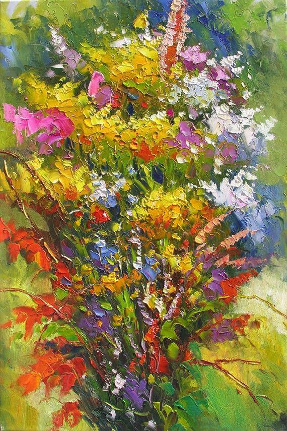 Heat Wave 20 x 30 Original Oil Painting Knife Colorful Flowers Yellow Pink White Purple Bouquet Arangement by Marchella