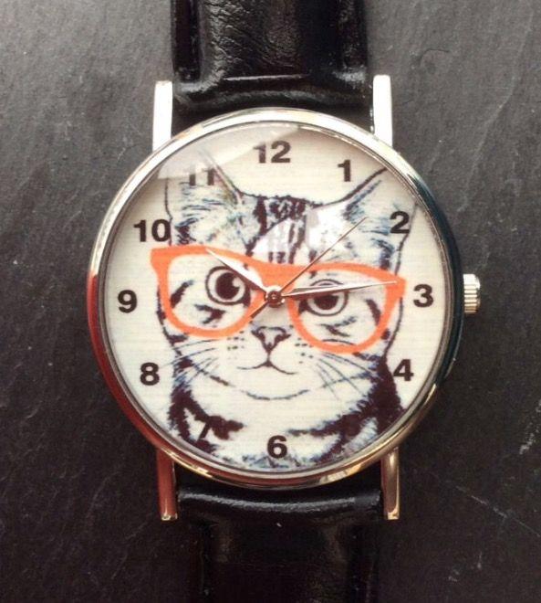 Black Faux Leather Strap Kitten in Glasses Wristwatch #present #xmas #christmas #black #fauxleather #leather #kitten #cat #animals #watches #watch #wrist #wristwatch #glasses #orange #cute http://m.ebay.co.uk/itm/Black-Faux-Leather-Strap-Kitten-Glasses-Women-Wrist-Watch-Ladies-Xmas-Cat-Animal-/282164321183?nav=SELLING_ACTIVE