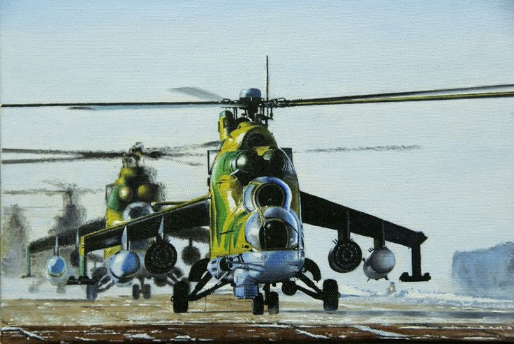 Mi-24P , oil and canvas.
