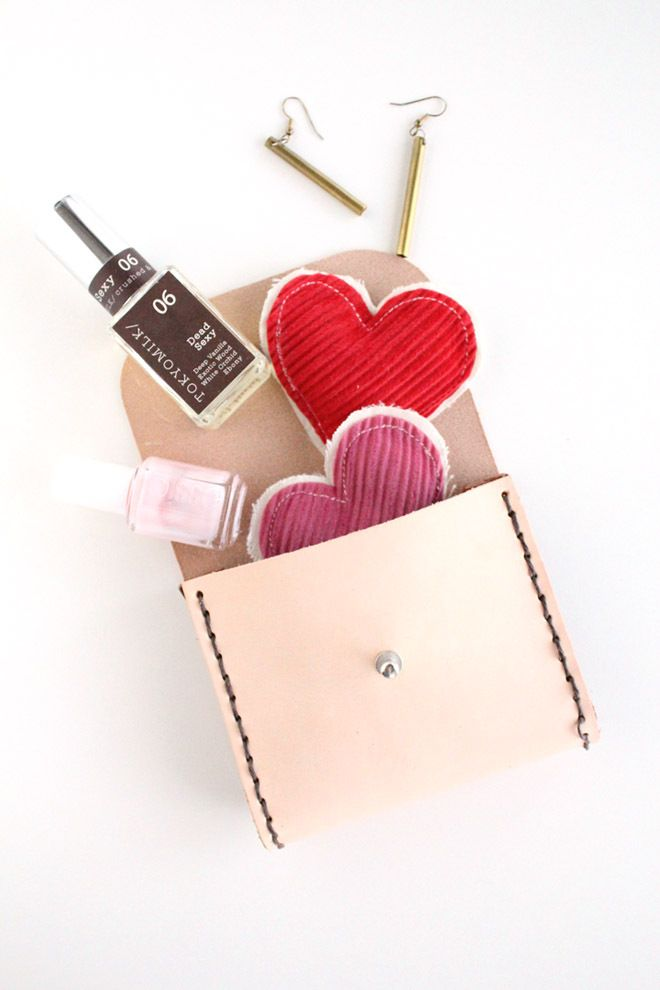 for anyone: homemade leather pouch stuffed with wee goodies    #homemade  #gift  #ideas