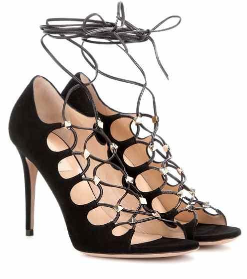Schnürsandalen Rockstud aus Veloursleder | Valentino