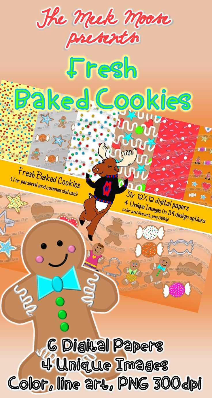 #baking #cookies #gingerbreadman  This is the first installment in a baking series. It includes six digital papers, and 4 cookie shapes. All versions also in line art. 39 total images + 6 papers.