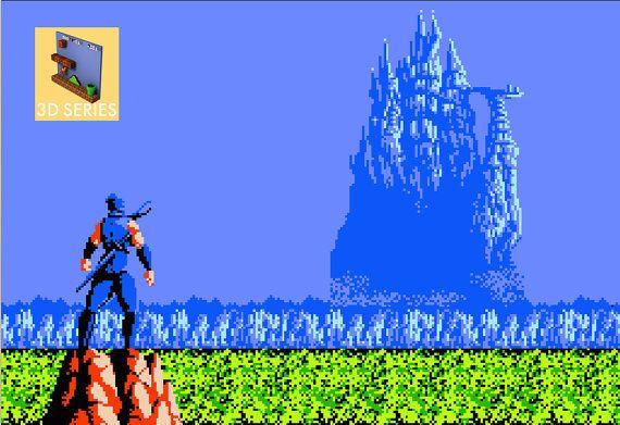 Ninja Gaiden obra de arte 3D de múltiples capas NES por Everquest