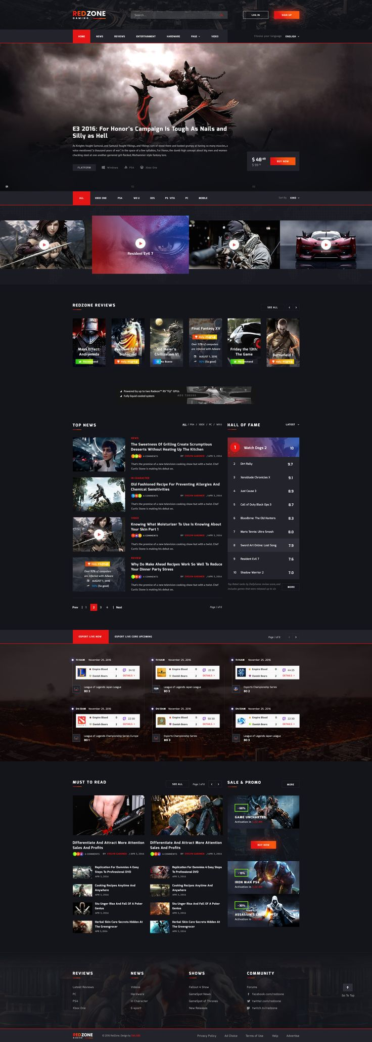 Red Zone - Game PSD Template (Blog, Review, Portal, Community) #psd #console #game review • Download ➝ https://themeforest.net/item/red-zone-game-psd-template-blog-review-portal-community/18643234?ref=pxcr