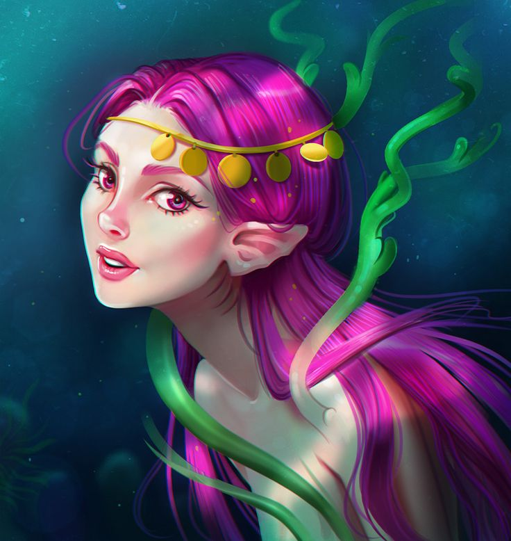 Pink mermaid, Corina Stan on ArtStation at https://www.artstation.com/artwork/OJ3B8