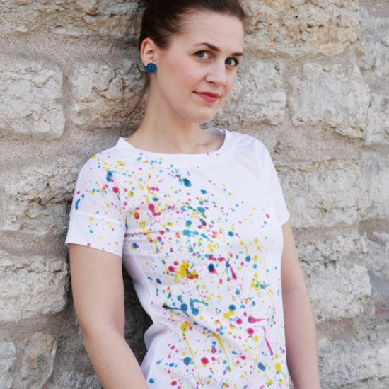 Update a plain t-shirt with some paint! It's easy, fun, and looks stunning!