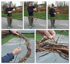 DIY wreath out of vines (doing this tomorrow with the neighbors intrusive ivy... will see how it works!)