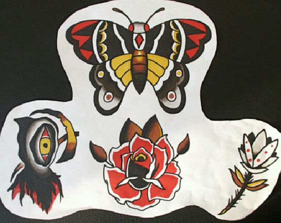 Traditional Flash by Jermaine Taylor - Moth and Butteryfly Tattoo Flash - Reaper Tattoo Flash - Rose Tattoo Flash - Flower Tattoo Flash © www.jermainetaylortattoos.com