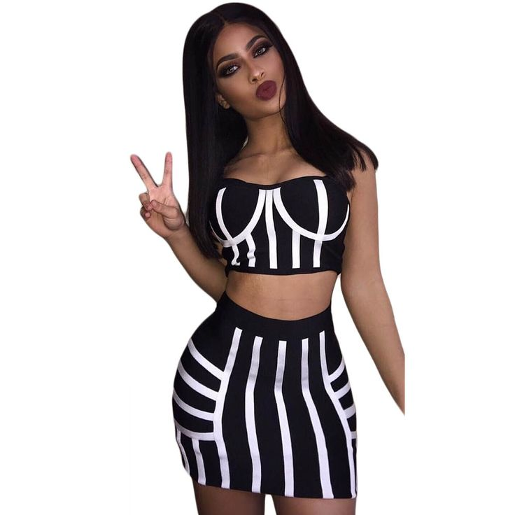 Two Pieces Outfits Black White Striped Mini Dress New Fashion Best Quality Sexy Spaghetti Strap Sleeveless Bodycon Women Dress