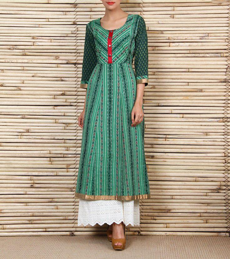 Green Ikat Kalidar Cotton Kurta   Indie Cotton Route