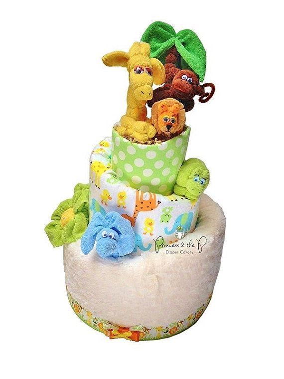 Deluxe Swaddle Safari Diaper Cake, Topsy Turvy Diaper Cake, baby shower, centerpiece, Decoration, Jungle, Safari, Elephant, lion, giraffe