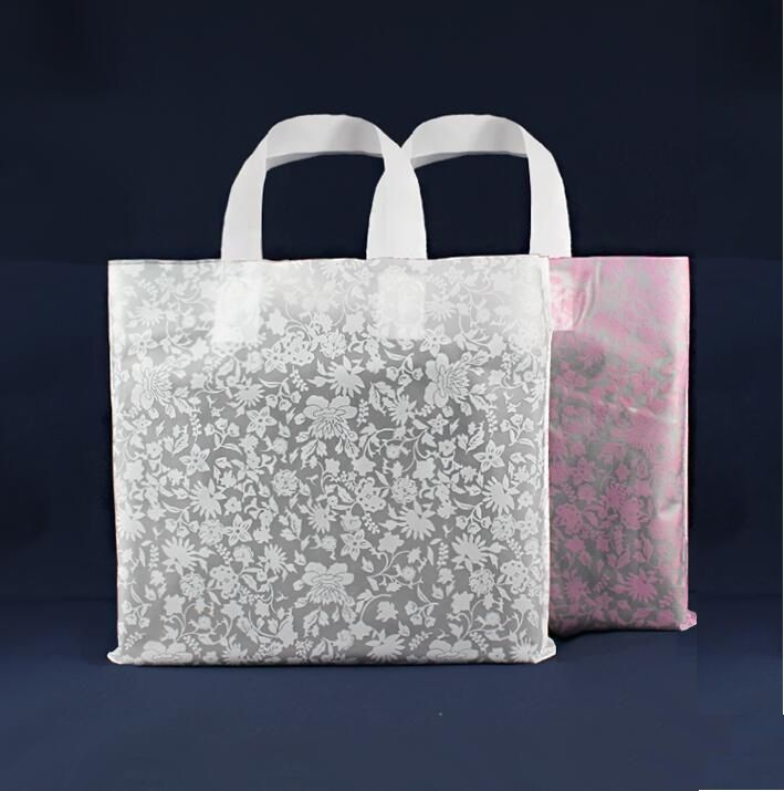 big pink and white Shopping Jewelry Packaging Plastic Gift Bag With Handle plastic jewelry gift pouch #Affiliate