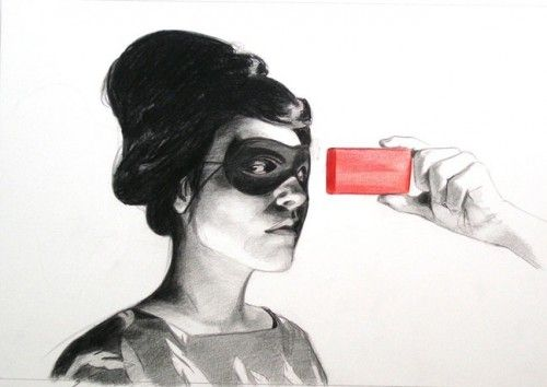 Mercedes Helnwein - East of Eden series, 2009, Graphite and color pencil on paper