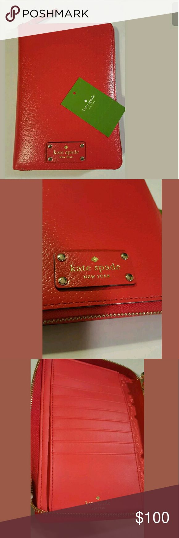 "Kate Spade Wellesley Cherry Liquor Personal Planne New August 2016 to December 2017 inserts (Yearly views, monthly views, weekly views, daily views.   Sections for: Notes, To Do, Birthdays, Restaurants, and Address)  Ruler  Fully lined in engraved Kate Spade New York signature satin fabric.  Gold rings are tight and I have never opened them. Eight credit card slots, two full length bill pockets, pen holder, and a secretarial pocket ??Some planner goodies included 5.5""(L) x 8""(H) x 1.25""(D)…"