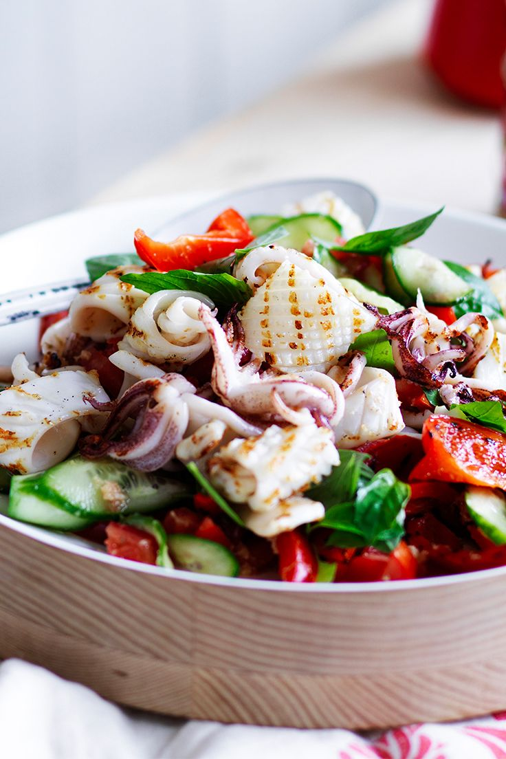 Deliciously fresh barbecued squid salad, this dish is perfect for spring entertaining.