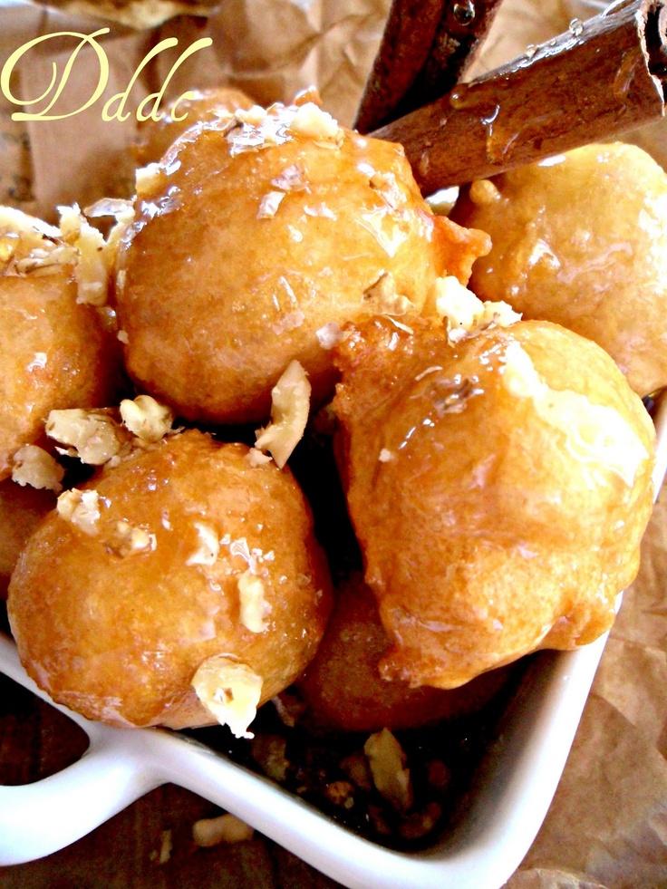 Loukoumades. -One of my favourite Greek desserts (Greek doughnuts aka heaven)
