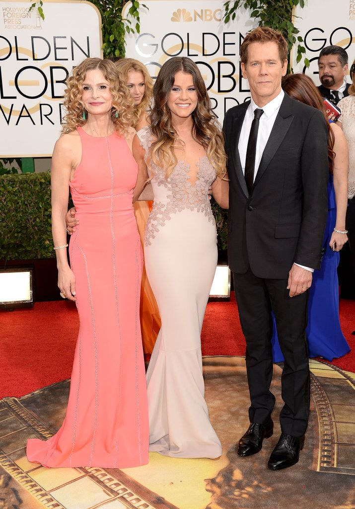 Kyra Sedgwick and Kevin Bacon posed with their daughter and Miss Golden Globe Sosie Bacon