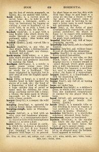 Free Vintage Dictionary Page Graphic: Hoop, Hope, Hopeful, Hopscotch
