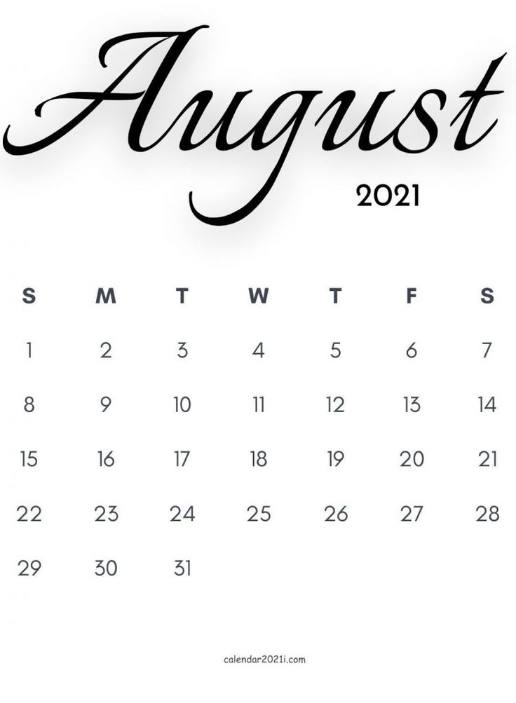 2021 Calligraphy Monthly Calendar Printable Templates ...