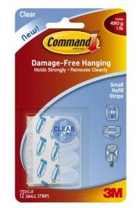 Command Small Refill Strips, Clear, 12-Strip, 6-Pack by Command. $13.42. Amazon.com                  3M Adhesive Technology Command products offer simple, damage-free hanging solutions for many projects in your home and office. Simplify decorating, organizing, and celebrating with an array of general and decorative hooks, picture and frame hangers, organization products, and more. Thanks to the innovative Command adhesive strips, you can mount and remount your Command p...