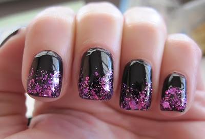 Violet Gradient Glitter Nail Polish Look