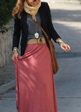 Maxi skirts + layers.