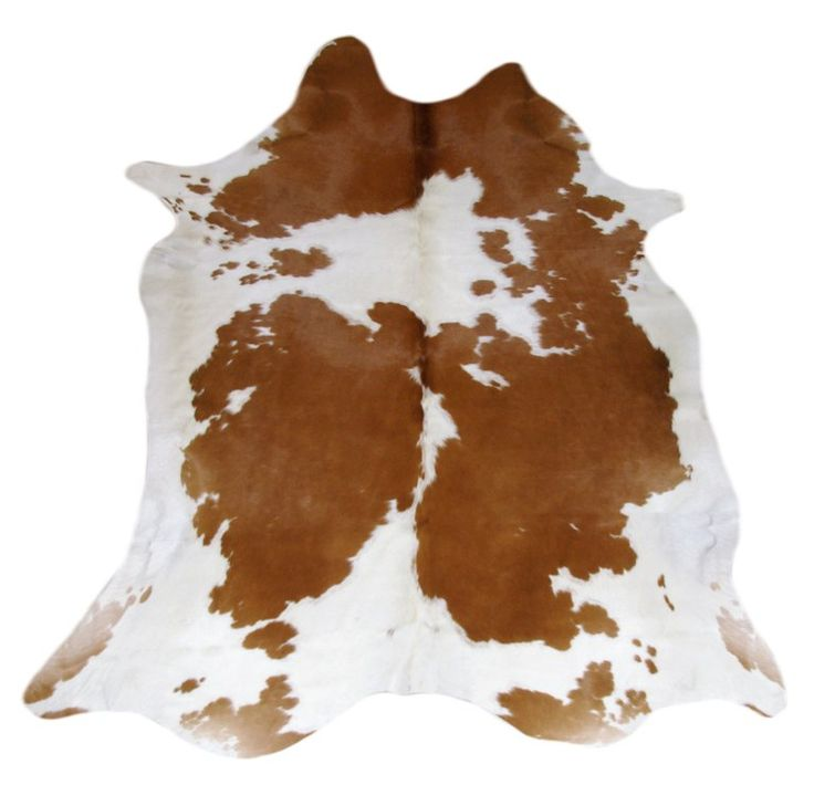 Tapis en peau de vache CH-1466 Marron et blanc