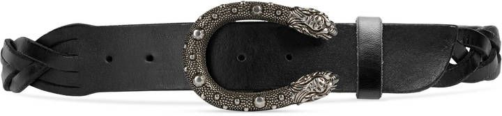 Braided belt with tiger head buckle