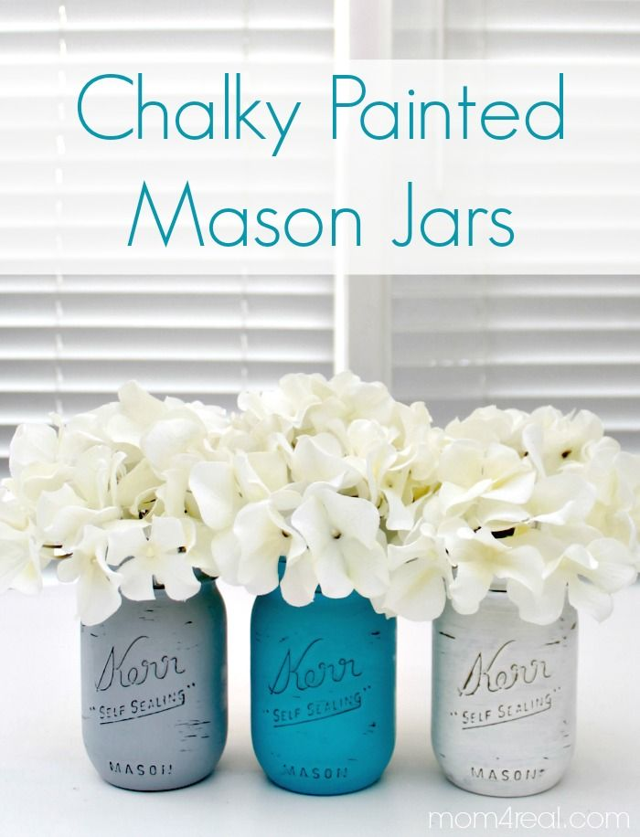 Chalky Painted Mason Jars from Mom4Real