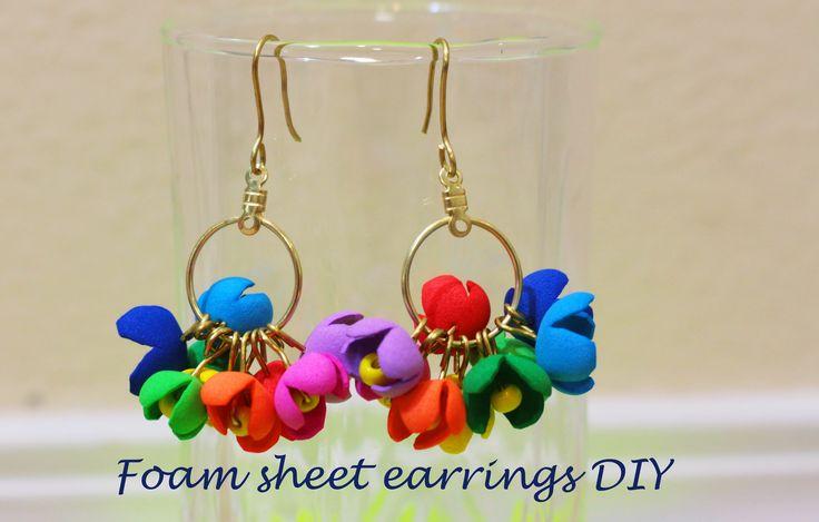 Earrings DIY ( using foam sheet) style 1 #crafts #diy #foamsheet crafts…