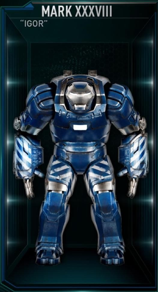 """The Mark 38 (Mark XXXVIII), also known by its name as """"Igor"""", is a Heavy Lifting Suit, and was one of several new Iron Man Armors created by Tony Stark as part of..."""