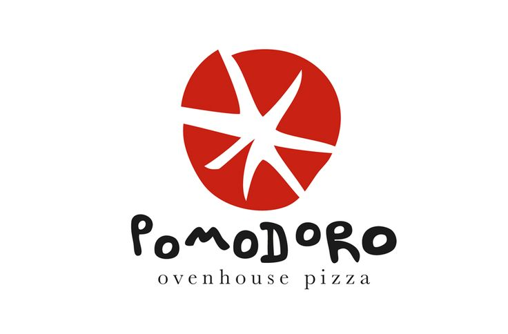 Pomodoro Pizza logo. An execution that utilises the translation of the traditional Italian name; tomato. Designed by Chay O'Rourke