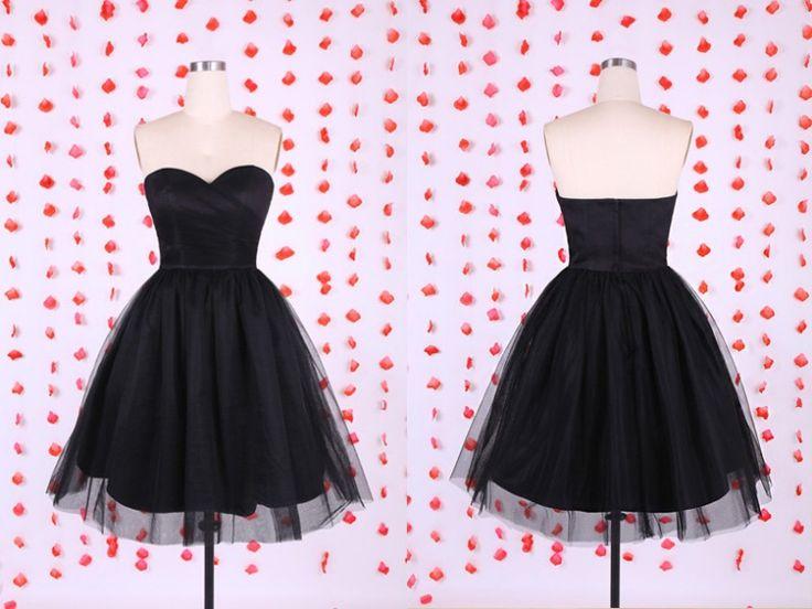 Black Dress, Party Dress, Tulle Dress, Black Party Dress, Sweetheart Dress, Black Tulle Dress, Knee Length Dress, Black Knee Length Dress, Knee Length Black Dress, Dress Party, Black Sweetheart Dress