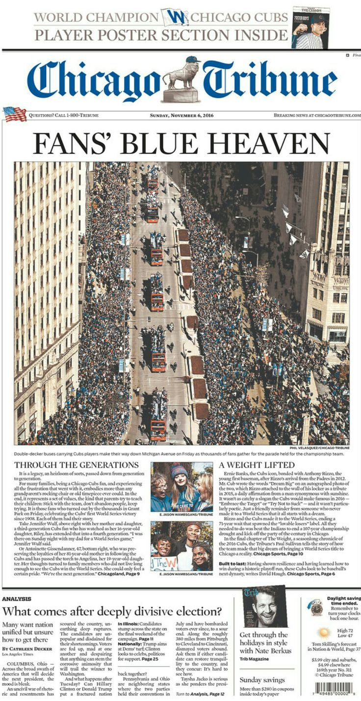 Chicago Cubs celebrate 2016 World Series Victory with a parade in Chicago. The Cubs had not won a World Series since 1908 (108 years). November 2016