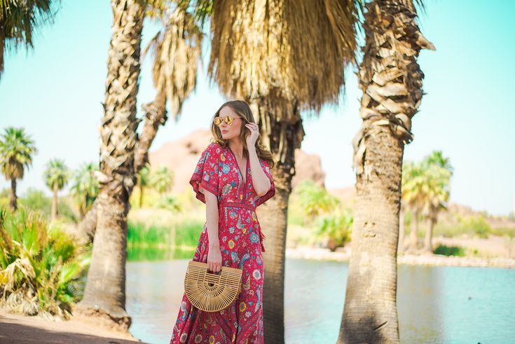 Miss USA 2011 Alyssa Campanella of The A List blog visits Scottsdale, Arizona wearing Spell Byron Bay Half Moon maxi and Cult Gaia Ark bag
