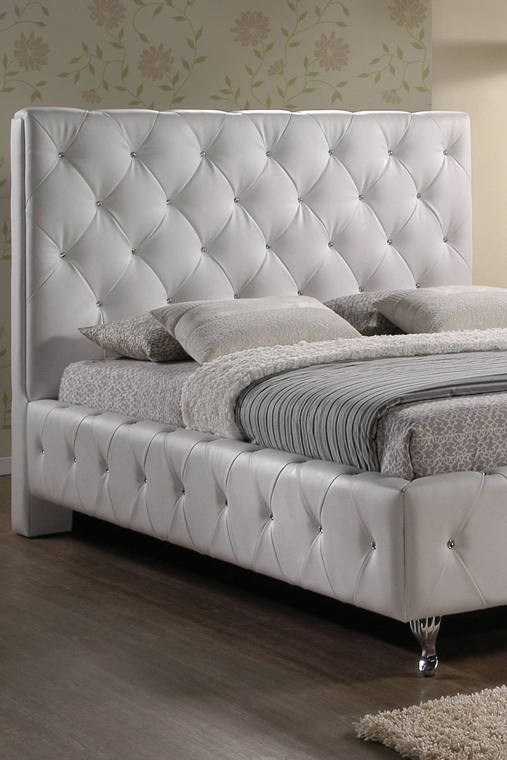 Stella White Upholstered Crystal Tufted Modern Bed