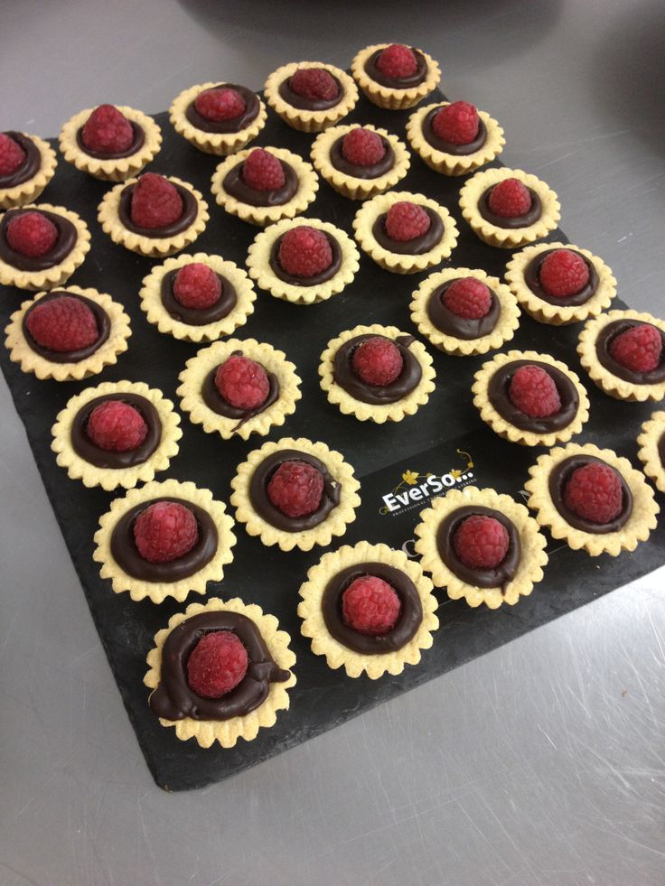 Fresh raspberries on a chocolate mousse - delicious little canape